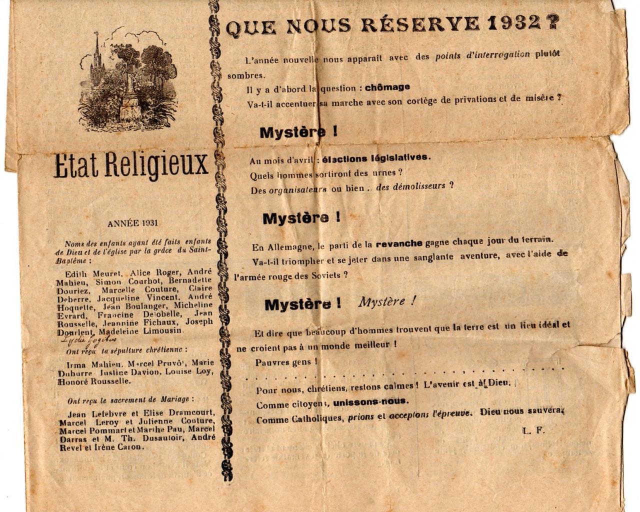 Houlle le mois paroissial 1932b