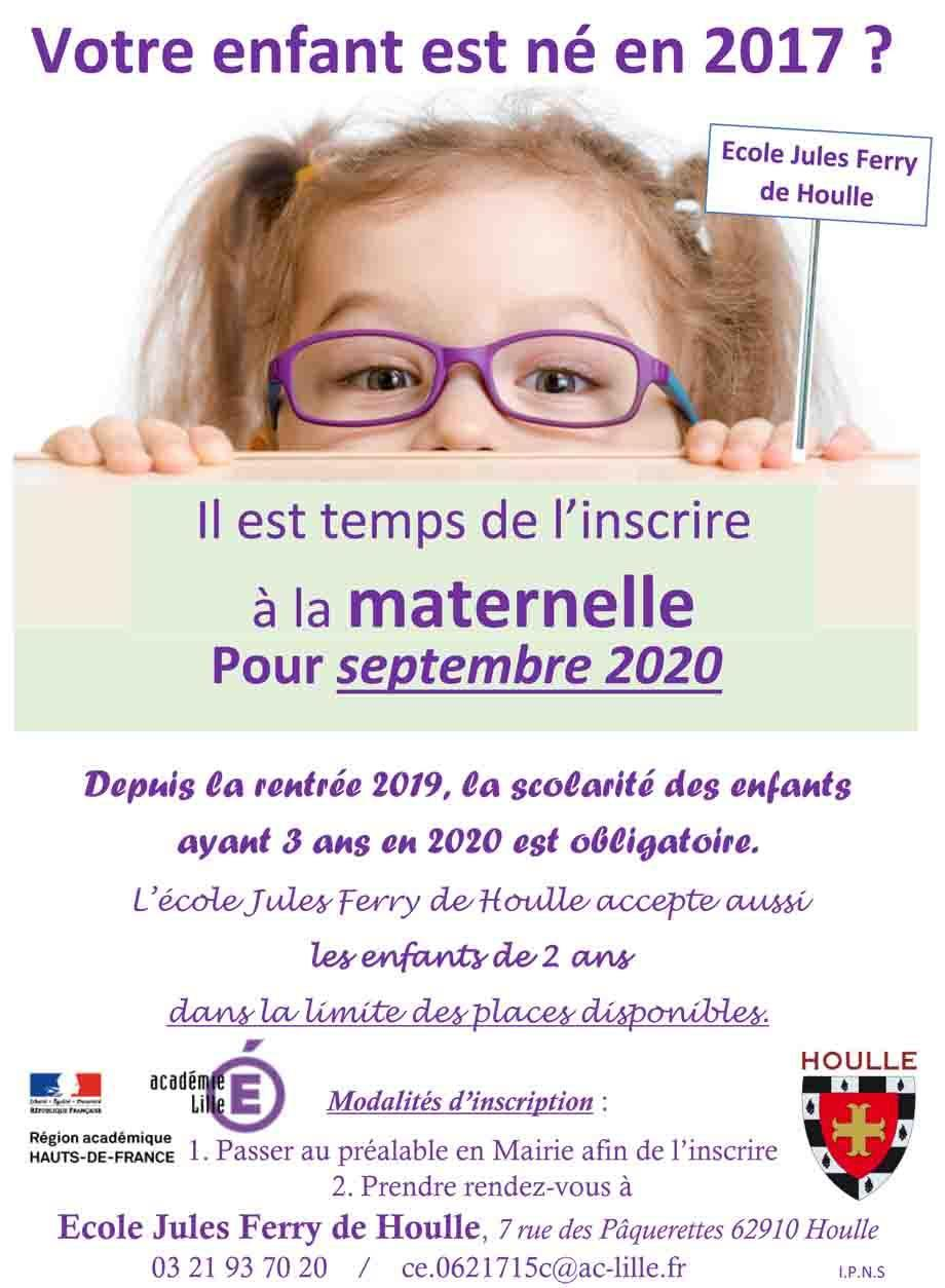 Affiche inscriptions ecole jules ferry