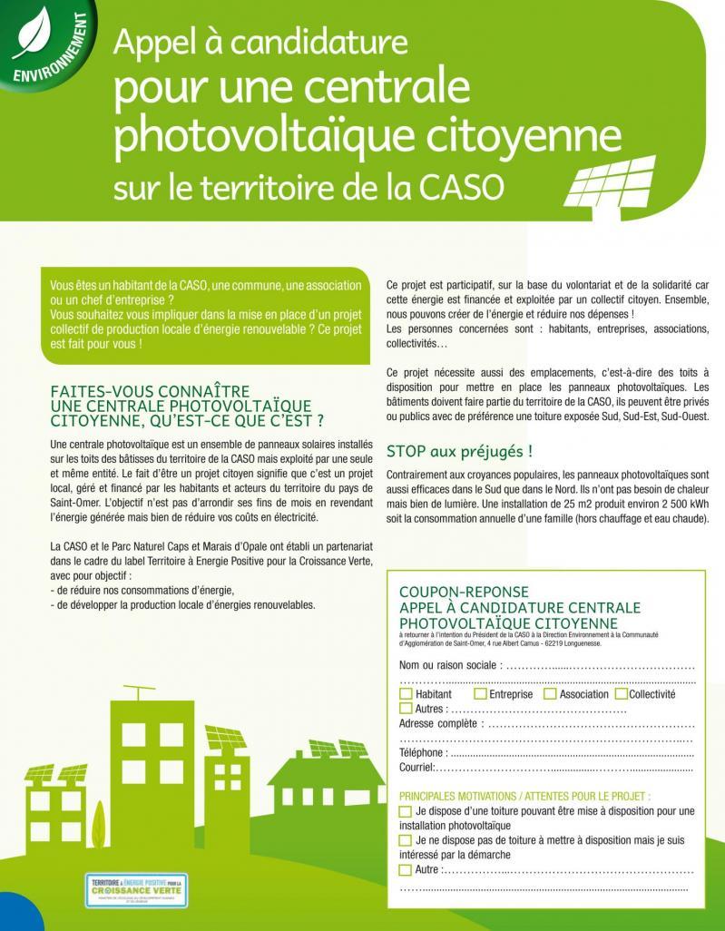 Appel a candidature centrale photovoltaique citoyenne