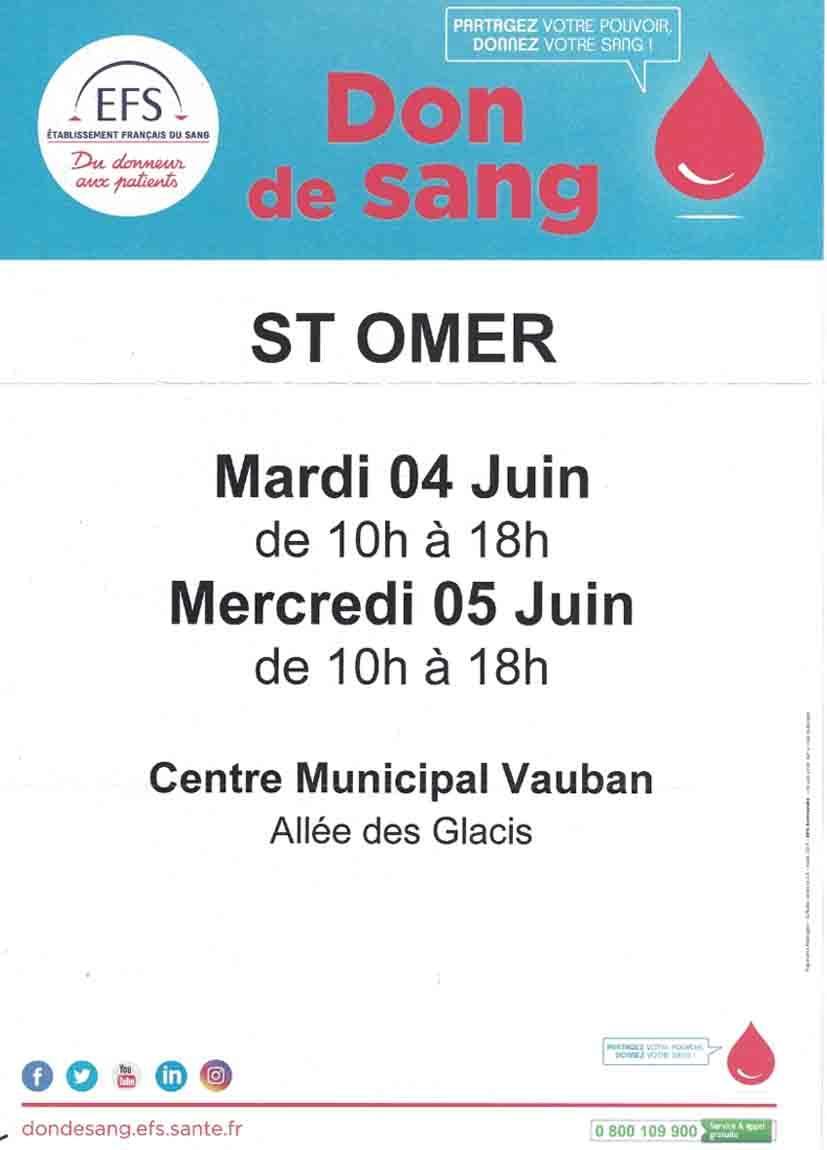 Don de sang 4 et 5 juin