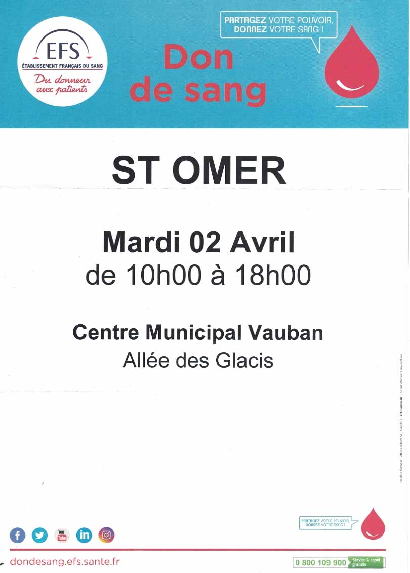 Don de sang saint omer 2 avril