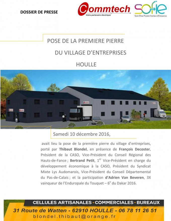 Dossier de presse 1re pierre village entreprises houlle 1