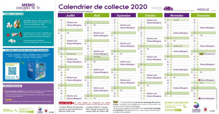 Houlle calendrier collecte 2