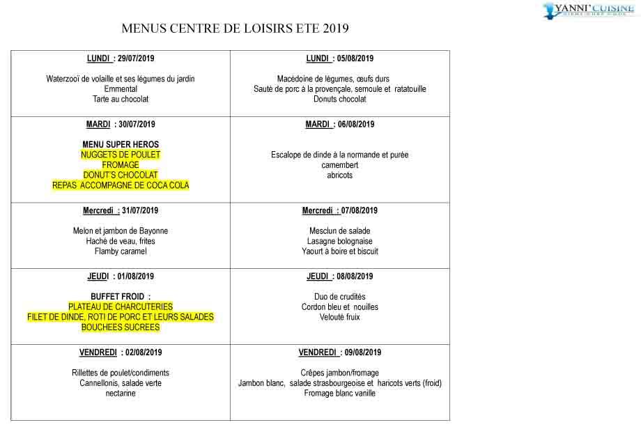Menus centre de loisirs ete 2019 2