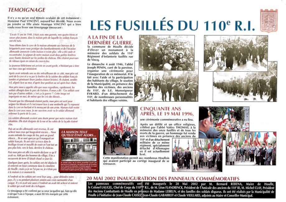 Panneaux comemoratifs monumment du 110eme 2